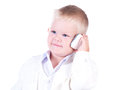 Little businessman in a business suit with phone. Stock Images
