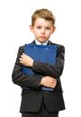 Little businessman with folder half length portrait of isolated on white concept of leadership and success Stock Photo
