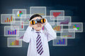 Little businessman looking for business profit see vision using binoculars in front of futuristic background Royalty Free Stock Photos