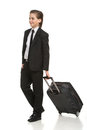 Little businessman with suitcase full length of cheerful boy in formalwear carrying g a while isolated on white Stock Image