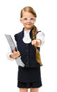 Little businesswoman in glasses keeps folder half length portrait of wearing and keeping isolated on white concept of leadership Royalty Free Stock Image