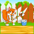 Little cartoon fox with paintbrush with background Royalty Free Stock Image