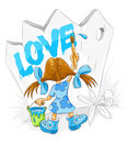 Little cartoon girl with paint brush drawing love Stock Photos