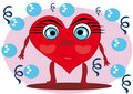 Little cartoon heart on isolated background Royalty Free Stock Photo