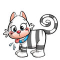 Little cartoon pussy cat white with grey stripes Stock Images