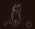 Little cat with ball, black and white, vector