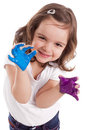 Little caucasian girl with hands painted Stock Photography