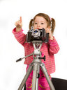 Little caucasian girl making a shot with cam Stock Photos
