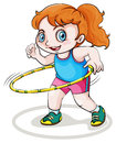 A little caucasian girl playing with the hulahoop illustration of on white background Stock Images