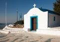 Little chapel on the hill. Small church in Faliraki, Greek town Royalty Free Stock Photo