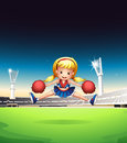 A little cheerleader in the field illustration of Royalty Free Stock Image