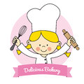 Little chef girl isolated drawing of a with kitchen utensils Royalty Free Stock Image