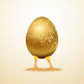 Little chicken in golden decorative egg illustration Stock Images