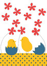 Little chicks Easter greeting card Stock Images