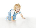 Little Child Boy Crawling, Baby Kid Isolated over White Backgrou Royalty Free Stock Photo