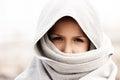 Little child boy wearing arabian burka style clothing Royalty Free Stock Photo