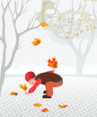 Little child collecting fallen leaves illustartion of calmness and family Stock Photos