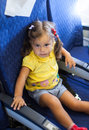 Little Child Girl In An Aircraft