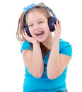 Little child in headphones isolated on white musik girl and kid Royalty Free Stock Photos