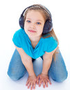 Little child in headphones isolated on white musik girl and kid Stock Image