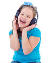 Little child in headphones isolated on white musik girl and kid Stock Images