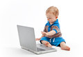 Little child with laptop Royalty Free Stock Photo