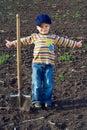 Little children with big shovel