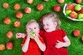 Little children eating apples Royalty Free Stock Photo