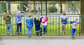 Little children hanging on a fence at visit in zoo Royalty Free Stock Photo