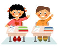 Little children at school on white background Stock Images