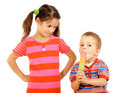 Little children sharing the ice cream Royalty Free Stock Photo