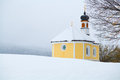 Little church in Alps during winter Royalty Free Stock Photo