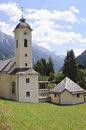 Little church in brandberg tyrol austria the sunny village of is located a side valley of the zillertal valley the so called Royalty Free Stock Image