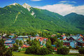 Little city in the mountains beautiful europe austria seefeld alps famous ski resort luxury cottages touristic place scene Royalty Free Stock Image