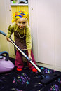 Little cleaning lady Stock Photo