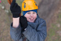 Little climber passes obstacle smiling Stock Photos