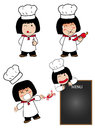 Little cook cartoon kitchen chef fun Stock Photography