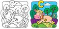 Little cow or calf coloring book. Alphabet C Royalty Free Stock Photo