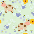 Little cow in village with bright flowers Stock Photo