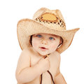Little cowboy cute baby boy wearing big hat isolated on white background adorable child having fun indoors happy childhood Stock Photography