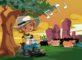 Little cowboy was playing the guitar Royalty Free Stock Image