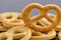Little crackers as pretzels aslt Royalty Free Stock Image