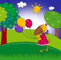 Little crow with balloons. Cartoon Royalty Free Stock Photo