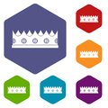 Little crown icons set hexagon