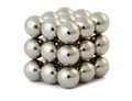 Little cube assembled from magnetic balls Royalty Free Stock Photos