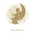Little cute angel with harp on a moon Stock Photography