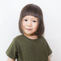 Little cute asian girl over white background. Royalty Free Stock Photo