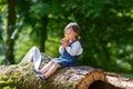 Little Cute Baby Girl Eating F...