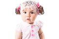 Little cute baby-girl  in pink dress isolated on white background Royalty Free Stock Photo