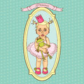 Little cute baby princess with toy frog Royalty Free Stock Photo
